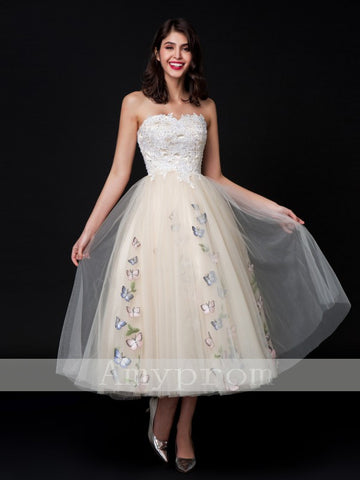 2018 A-line Sweetheart Tea-length Cheap Prom Dresses Evening Dresses AMY599