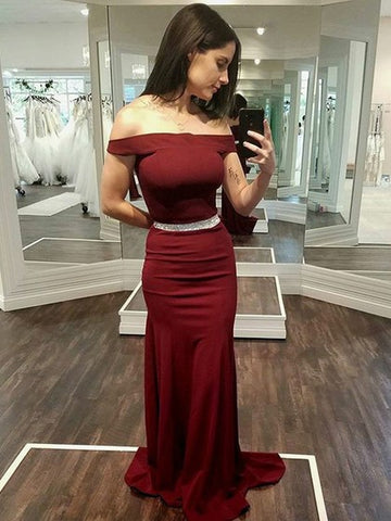2018 Mermaid Prom Dresses Off-the-shoulder Burgundy Simple Long Prom Dress Evening Dresses AMY601