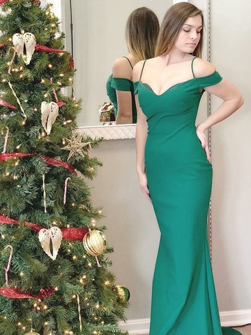 2018 Mermaid Prom Dresses Spaghetti Straps Green Simple Long Prom Dress Evening Dresses AMY604