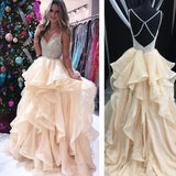 2018 A-line Prom Dresses Spaghetti Straps Beading Long Prom Dress Evening Dresses AMY606