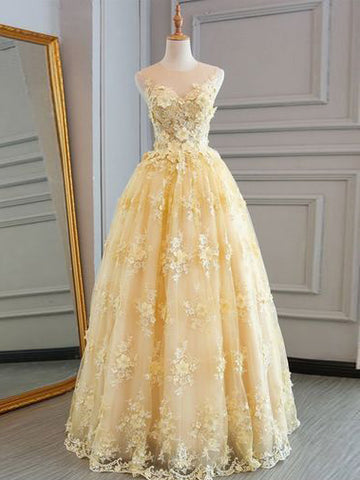 2018 A-line Prom Dresses Scoop Applique Modest Long Prom Dress Evening Dresses AMY608