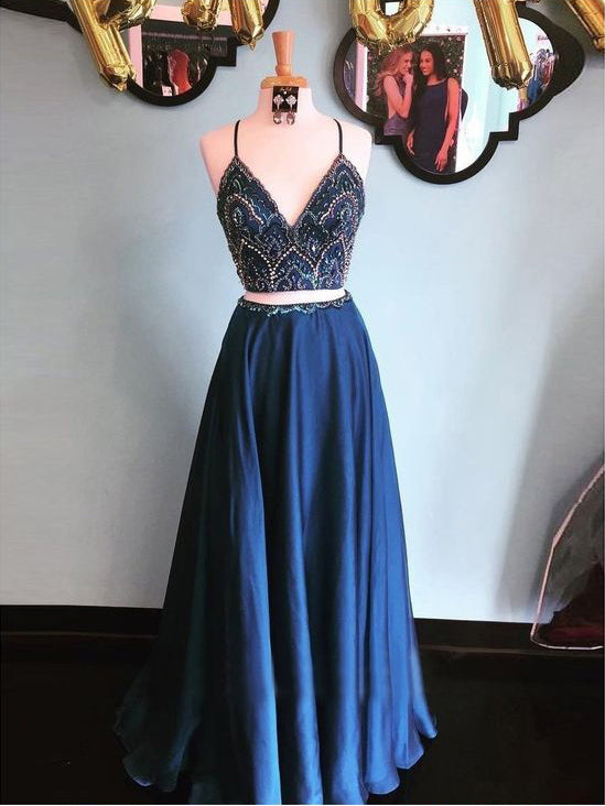 2018 Two Pieces Prom Dresses Spaghetti Straps Beading Long Prom Dress Evening Dresses AMY611