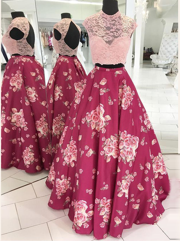 2018 Two Pieces Prom Dresses Scoop Lace Print Long Prom Dress Evening Dresses AMY612