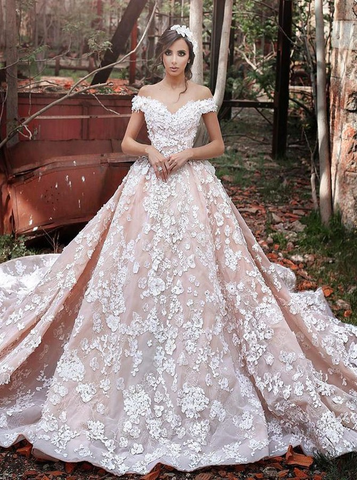 2018 A-line Off-the-shoulder Court Train Tulle Applique Wedding Dresses AMY613