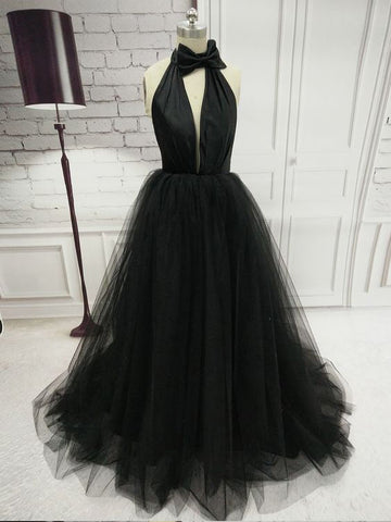 2018 A-line Halter Prom Dresses Black Simple Long Prom Dress Evening Dresses|Amyprom.com