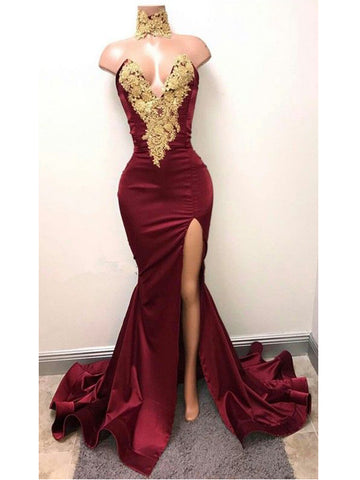 2018 Mermaid Prom Dresses V neck Burgundy Long Prom Dress Evening Dresses|Amyprom.com