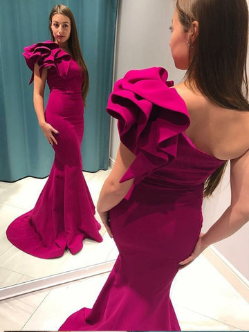 Long Prom Dresses Trumpet/Mermaid Fuchsia One shoulder Prom Dress/Evening Dress|Amyprom