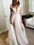 2018 Prom Dress A-line Straps Lace Short Sleeve Elegant Long Prom Dresses/Evening Dress AMY625