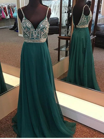 Dark Green Prom Dresses Spaghetti Straps A-line Chiffon Long Prom Dress/Evening Dress|Amyprom