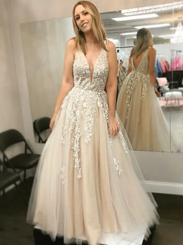 2018 Prom Dress A-line Straps Lace Elegant Long Prom Dresses/Evening Dress AMY633
