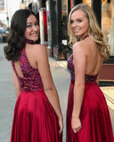 Red Prom Dresses Two Pieces A-line High Neck Beading Long Prom Dress|Amyprom