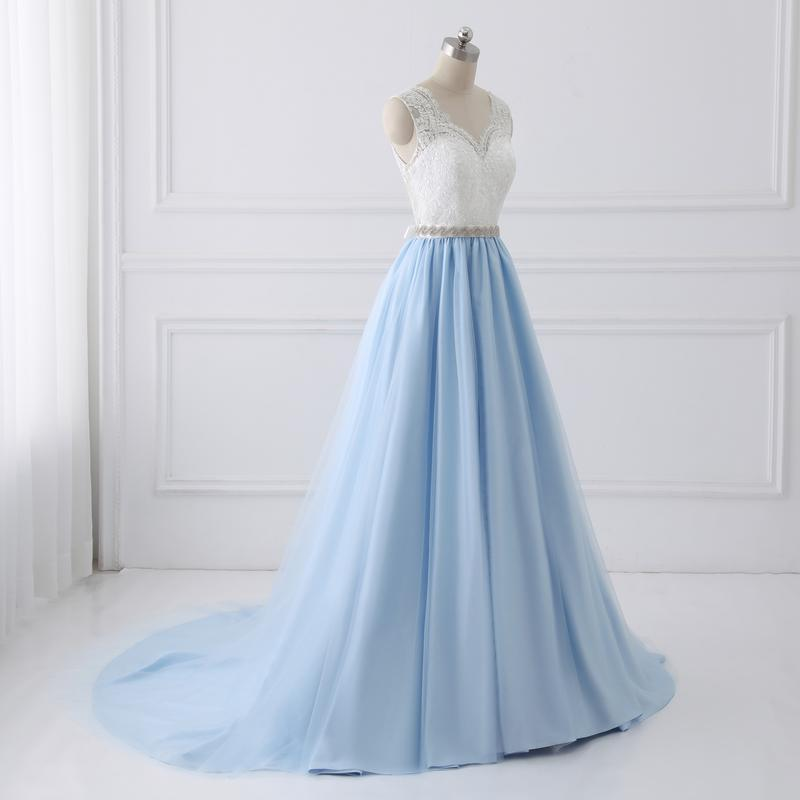 Discount Evening Gowns: Lace Prom Dresses,A-line Prom Dress White And Blue Cheap