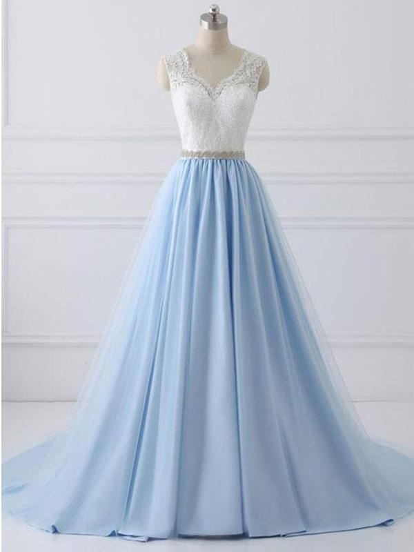 Lace Prom Dresses,A-line Prom Dress White and Blue Cheap Long Prom Dress|Amyprom