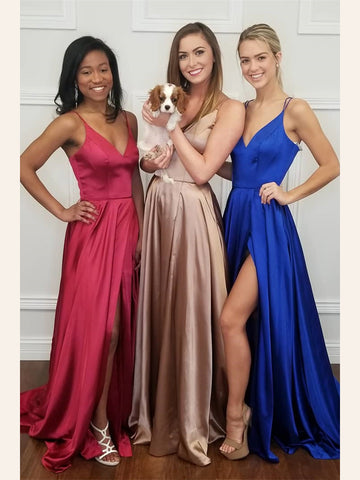 Simple Prom Dresses A-line Spaghetti Straps Cheap Prom Dress/Evening Dress|Amyprom