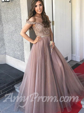 Elegant A-line Prom Dresses Off-the-shoulder Beading Cheap Prom Dress/Evening Dress AMY648