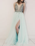 A-line Prom Dresses Spaghetti Straps Beading Modest Cheap Prom Dress/Evening Dress AMY649