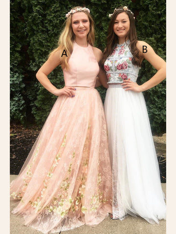 Two Pieces Prom Dresses A-line High Neck Floral Beautiful Prom Dress/Evening Dress|Amyprom
