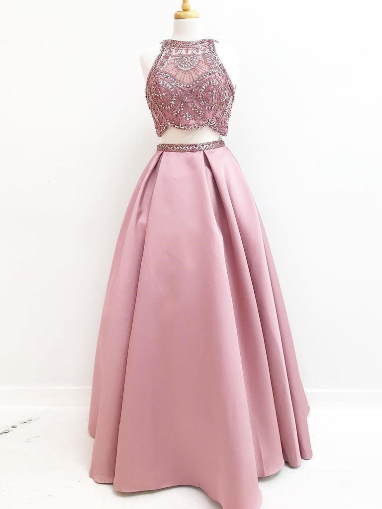 722f2cb81e Simple A-line Prom Dresses Pink High Neck Cheap Beading Prom Dress Evening  Dress