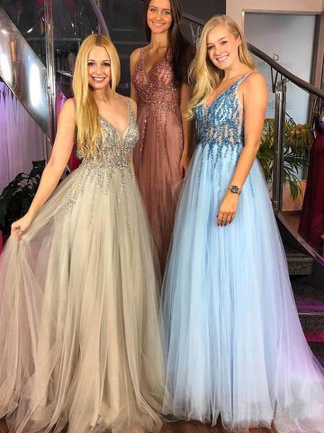A-line V-neck Beaded Bodice Tulle Long Prom Dresses Evening Dress AMY657