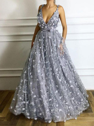 Silver Deep V A-line Floral Elegant Long Prom Dresses/Evening Dress AMY668