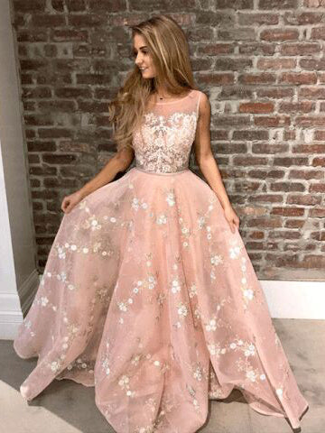 2018 Prom Dress A-line Scoop Lace Sleeveless Pink Elegant Long Prom Dresses/Evening Dress AMY671