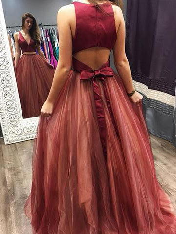 Two Pieces Prom Dresses A-line V neck Burgundy Cheap Long Prom Dress/Evening Dress AMY682
