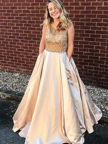 Elegant Prom Dresses A-line Scoop Gold Beading Long Prom Dress/Evening Dress AMY684