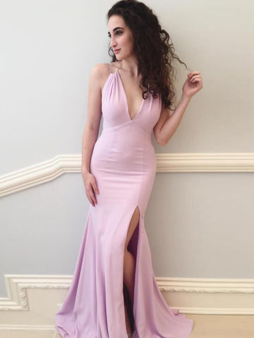 Trumpet/Mermaid Prom Dress Pink Spaghetti Straps Cheap Simple Long Prom Dresses/Evening Dress AMY686
