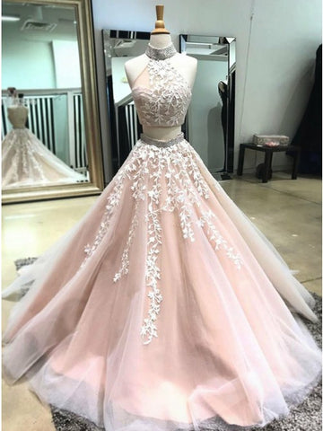 Two Pieces Prom Dresses Classy High Neck Applique Long Prom Dress/Evening Dress AMY688