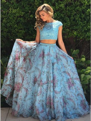 Two Pieces Prom Dresses A-line Scoop Floral Lace Modest Prom Dress/Evening Dress AMY689