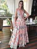A-line Prom Dress Straps Pink Floral Lace Modest Long Prom Dresses/Evening Dress AMY692