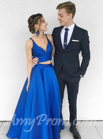 Two Pieces A-line Prom Dresses Royal Blue Simple Cheap Prom Dress/Evening Dress AMY694