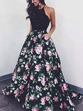 Unique Prom Dresses Graduacion A line Beading Floral Prom Dress/Evening Dress AMY695