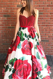 Elegant Prom Dresses A-lne Red Sweetheart Floral Long Prom Dress/Evening Dress AMY697