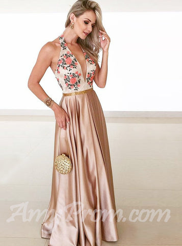 Elegant A-line Prom Dresses Halter Floral Cheap Prom Dress/Evening Dress AMY698