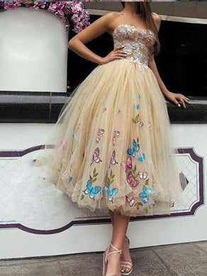 Prom Dresses For Teens Strapless Butterfly Floral Tea Length Prom Dress/Evening Dress AMY700