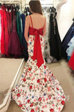 Elegant Two Pieces Mermaid Prom Dresses Red Floral Prom Dress/Evening Dress AMY701