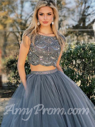 Two Pieces Prom Dresses Aline Silver Beading Modest Long Prom Dress/Evening Dress AMY703