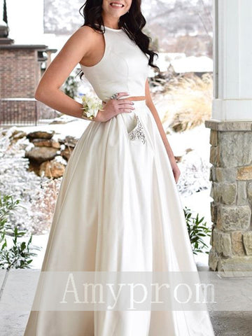 Elegant Prom Dresses A line Off-the-shoulder Ivory Cheap Long Prom Dress/Evening Dress AMY706