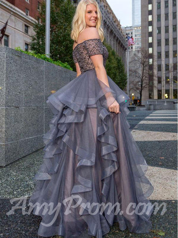 Two Pieces Prom Dresses Off-the-shoulder Silver Beading Long Prom Dress/Evening Dress AMY707