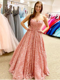 2018 Long Prom Dress Pink Sweetheart Modest Graduacion Long Prom Dresses/Evening Dress AMY711