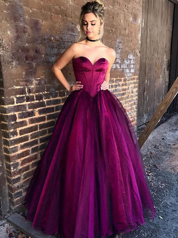 Ball Gown Prom Dresses Grape Simple Cheap Long Prom Dress/Evening Dress AMY714