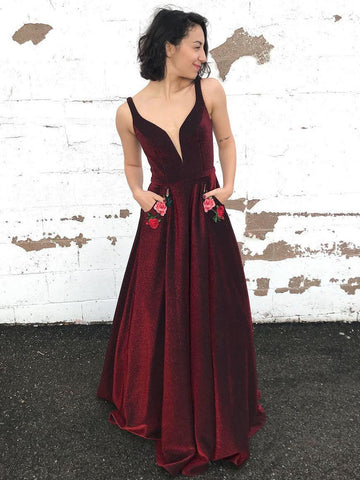 2018 Long Prom Dress Burgundy Straps Floral Graduacion Long Prom Dresses/Evening Dress AMY715