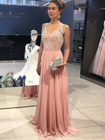 Elegant Prom Dresses A-line Straps Pink Beading Long Prom Dress/Evening Dress AMY716
