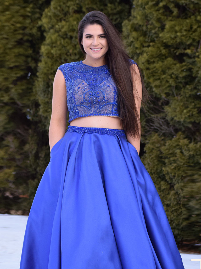 Two Pieces Prom Dress A-line Royal Blue Plus Size Scoop Beading Long Prom  Dresses/Evening Dress AMY718