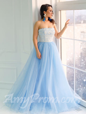 A-line Prom Dresses Strapless Light Blue Lace Cheap Long Prom Dress/Evening Dress AMY721