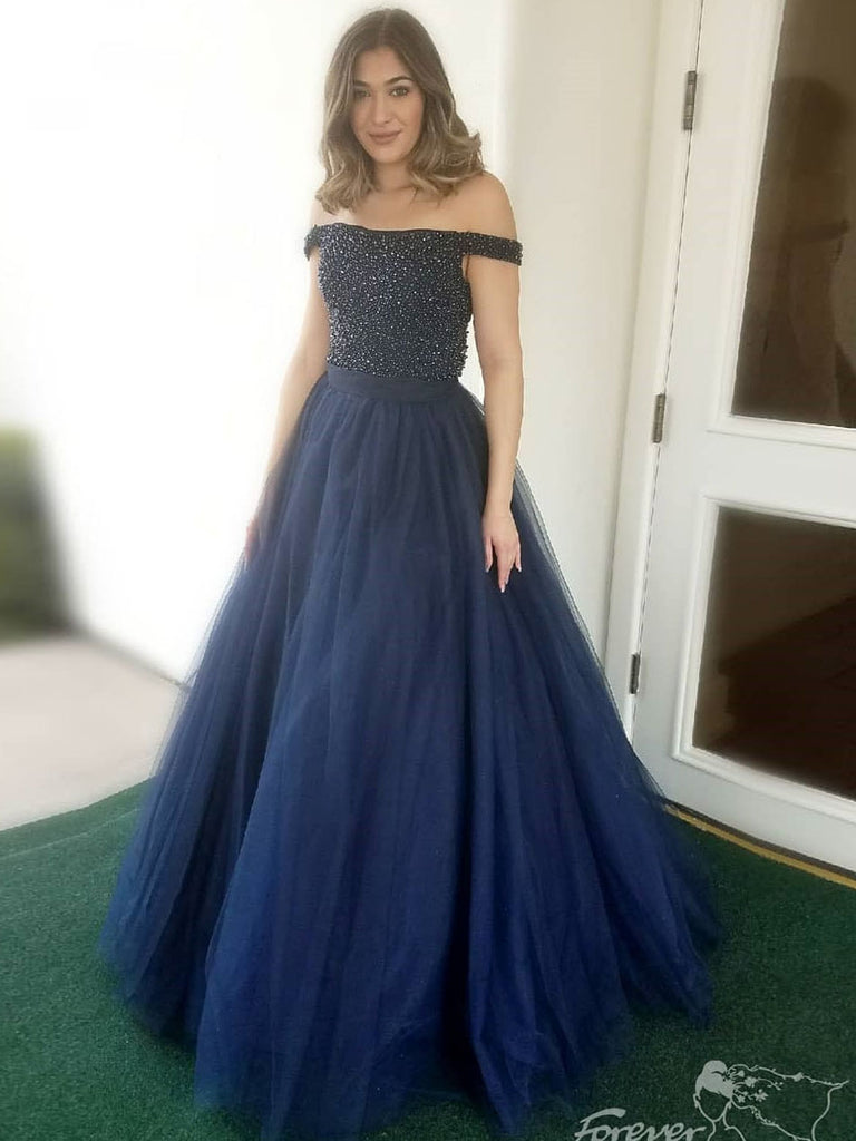 2018 Long Prom Dress Dark Navy Off-the-shoulder Tulle Modest Long Prom Dresses/Evening Dress AMY723