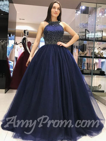 Ball Gowns Prom Dresses Straps Dark Navy Tulle Long Prom Dress/Evening Dress AMY727