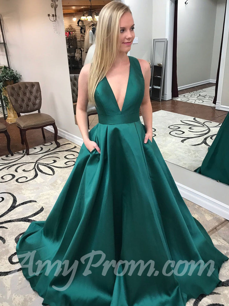 Best Selling Prom Dresses Aline V neck Simple Cheap Long Prom Dress/Evening Dress AMY728