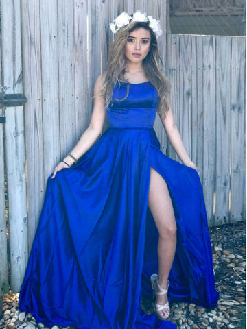 Royal Blue Prom Dresses A-line Simple Spaghetti Straps Long Prom Dress/Evening Dress AMY733